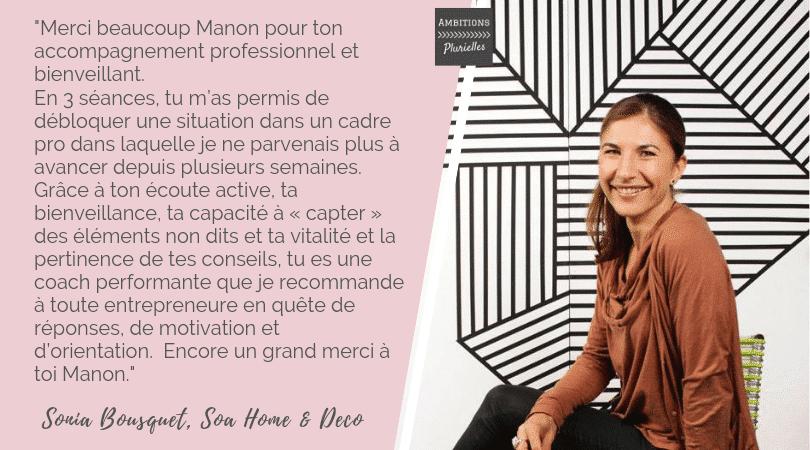 Témoignage Sonia Bousquet coaching entrepreneure Ambitions Plurielles