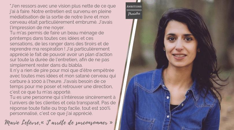 Témoignage Marie Lefèvre Ambitions Plurielles Coaching femmes entrepreneures
