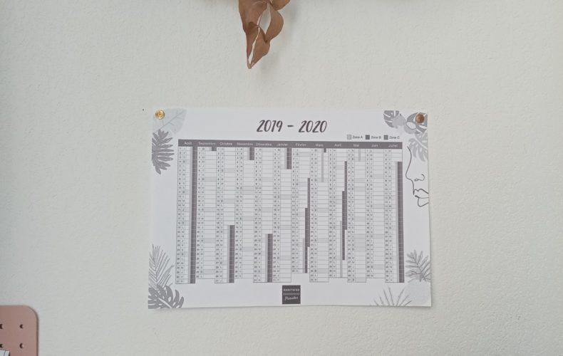 #organisation : Calendrier 2019 – 2020 à imprimer pour ton bureau