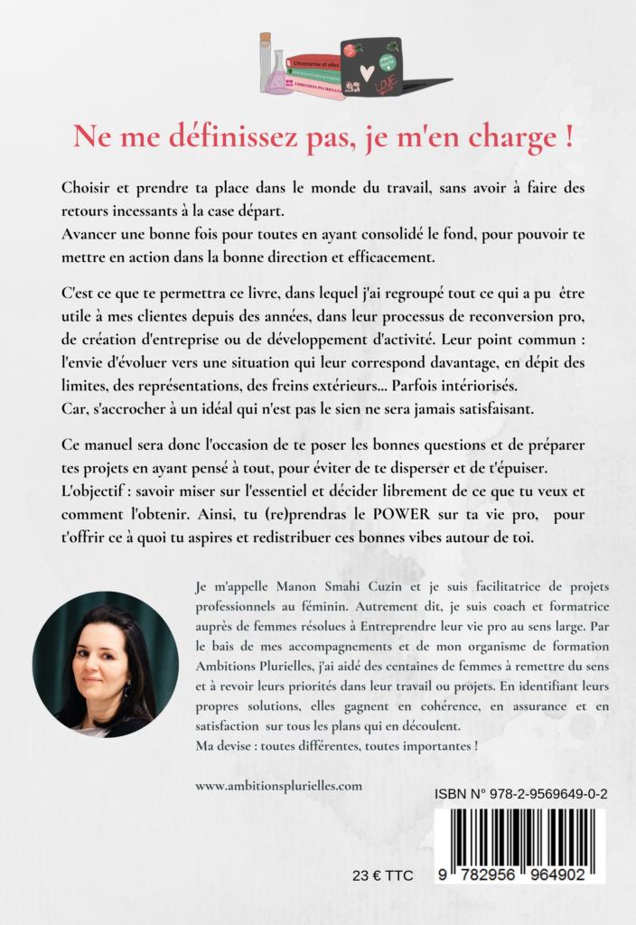 Quatrième de couverture du livre Ne me définissez pas, je m'en charge ! par Manon Smahi Cuzin