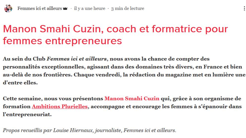 Manon Smahi Cuzin, coach et formatrice pour femmes entrepreneures_ - www.femmesicietailleursblog.com
