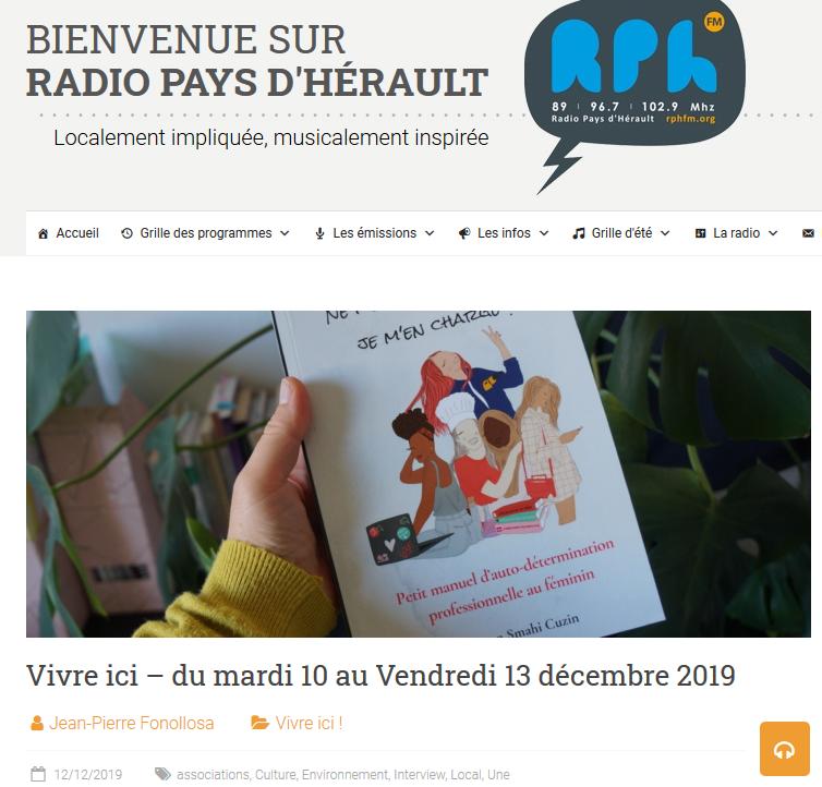 Radio Pays d'Hérault interview sortie livre épanouissement professionnel féminin