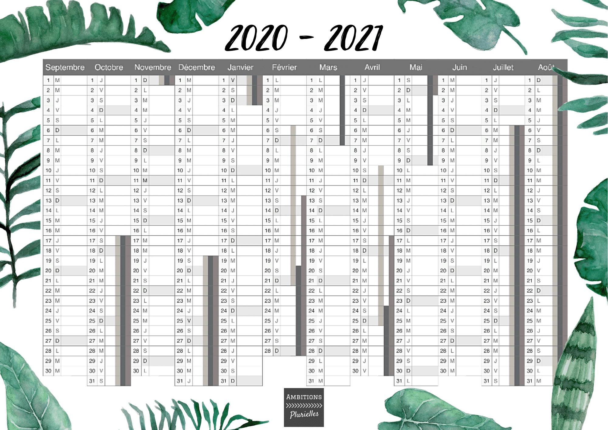 Calendrier 2019 Et 2021 A Imprimer Un joli calendrier 2020   2021 à imprimer offert par Ambitions