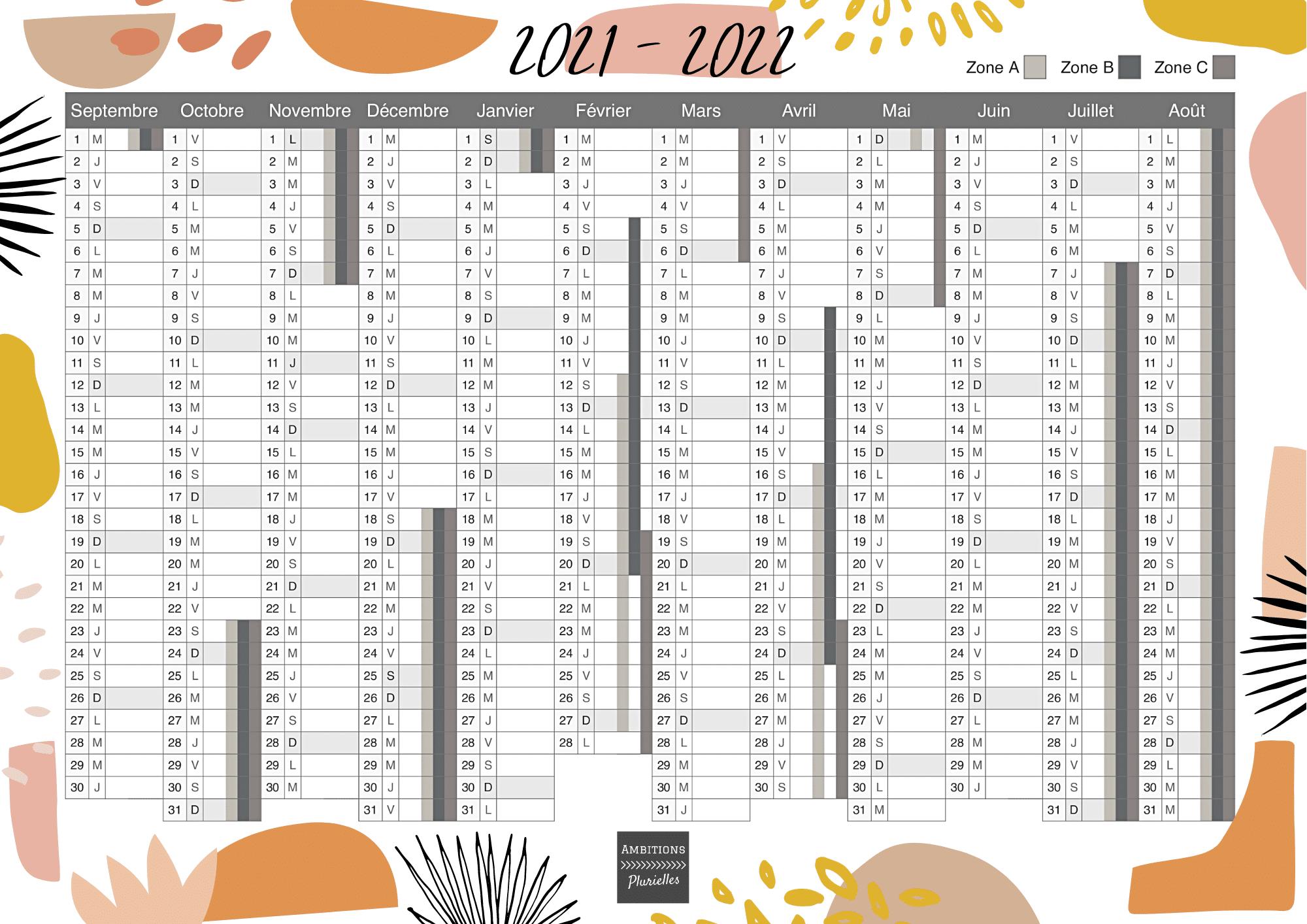 Calendrier 2021-2022 à imprimer et à afficher dans ton bureau